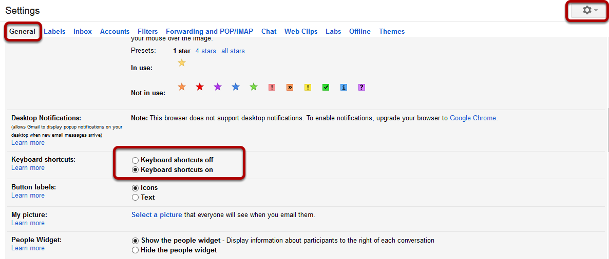how to enable keyboard shortcuts in gmail