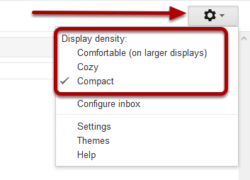 display density gmail