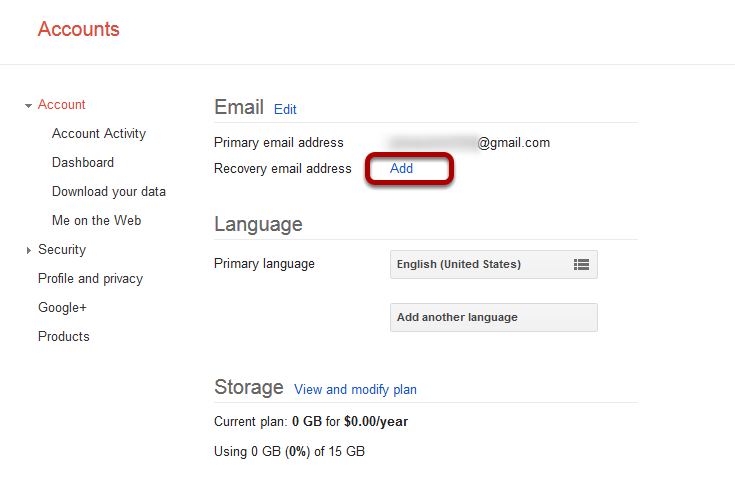 set up gmail recovery address